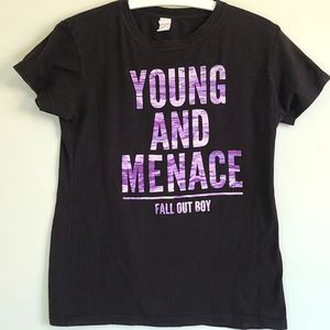 Women's Black Young and Menace Fall Out Boy Tee